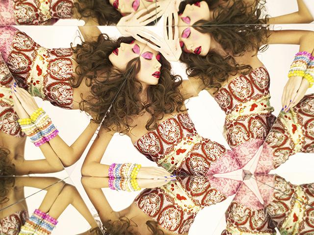 Bright brunette in kaleidoscope